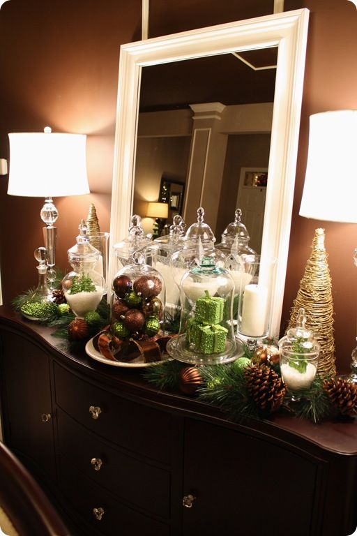 decor with Walmart ornamentsThrifty Decor Chick, Dining Room, Apothecary Jars, Chocolates Brown Room, Christmas Display, Buffets Tables, Christmas Decor, Apothecaries Jars, Christmas Vignettes