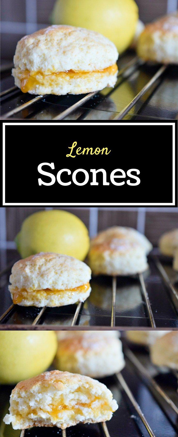 Lemon scones with apricot jam