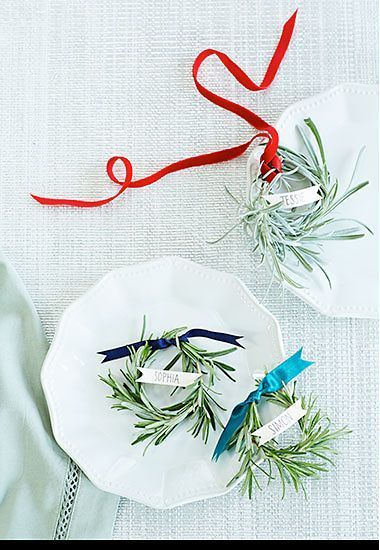 A Christmas place card made from rosemary