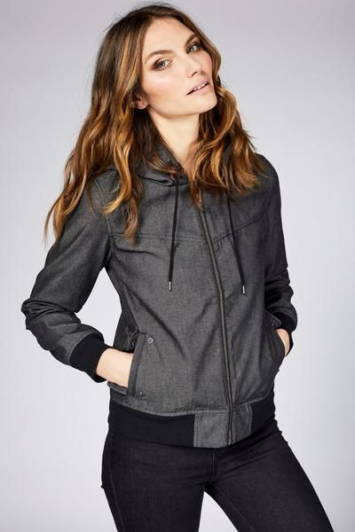 A stylish waterproof jacket for women by Mia Melon. The Heidi is light weight weatherproof bomber style jacket.