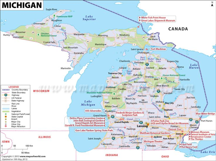 Michigan Map (MI), 11th largest state in the US having area of 96,716 sq mi; map of Michigan also shows famous places to visit, airports, highways, etc