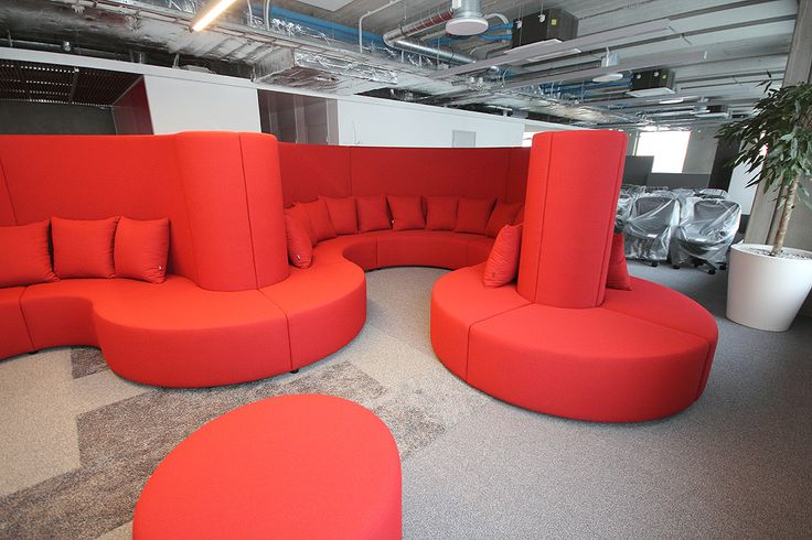 Custom-made red office sofa by Mang  Furniture