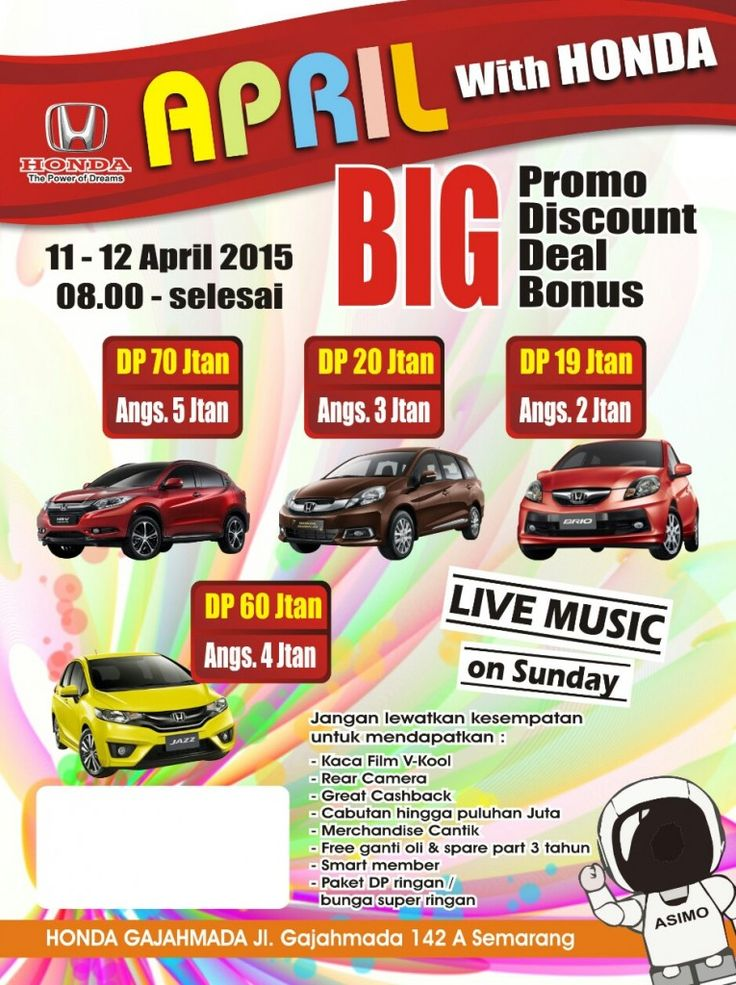 honda-semarang.com sebagai Dealer Resmi Authorized Dealer Honda Gajahmada Semarang menggelar Shoowroom Event pada 23-24 April 2016, pada pukul 08.00 -17.00 WIB Datang dan jangan lewatkan kesempatan untuk mendapatkan : - Promo BUNGA 0% - DP RINGAN 25% - Kaca film V-kool - Rear camera* - Cashback maksimal - Marchendize menarik* - Free ganti oli s/d 3 tahun* - Smart member* -Free Test Drive Nikmati promo DP ringan dan angsuran ringan : Brio DP mulai 11 jutaan / angs 3 jutaan | Mobilio DP…