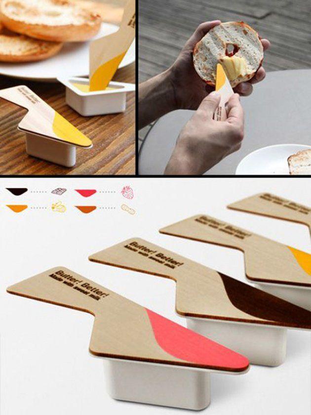 #Desayunar fuera de casa nunca fue más fácil gracias a este #packaging de Mantequilla con cuchillo incorporado.