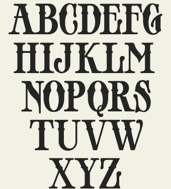 old time writing alphabet