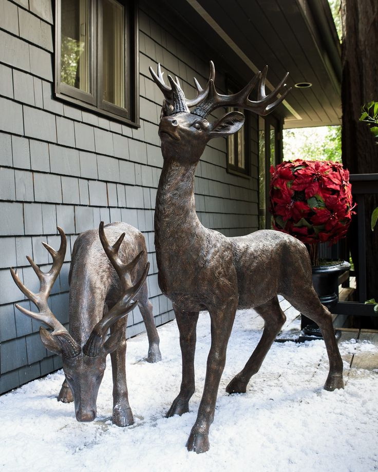Ideal for both indoor and outdoor use these life size for Christmas deer decorations indoor