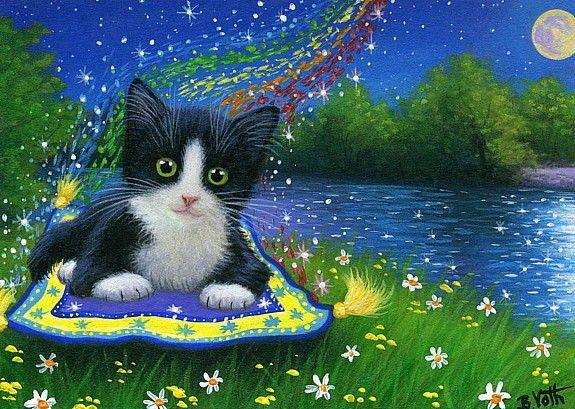 Cat On Magic Carpet - Carpet Vidalondon
