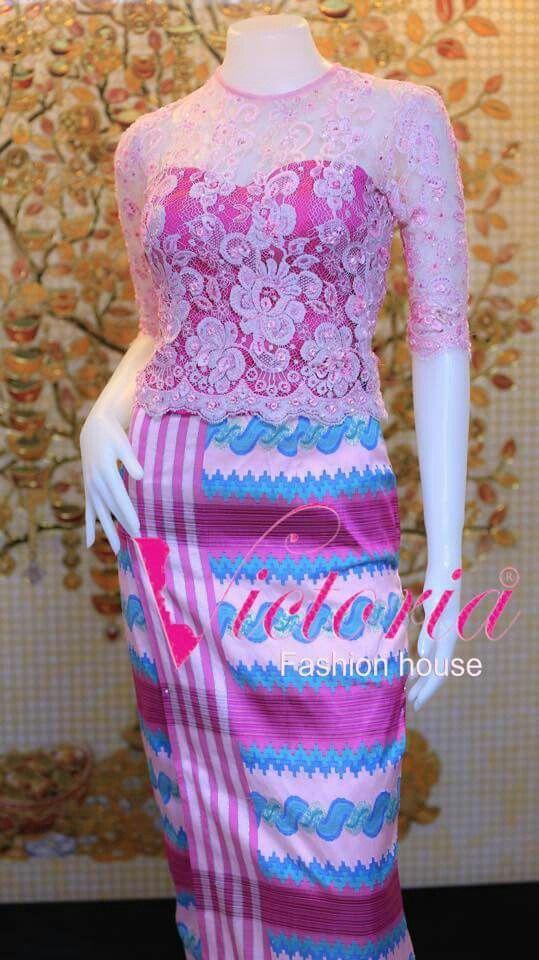 Myanmar silk acheik and france lace dress