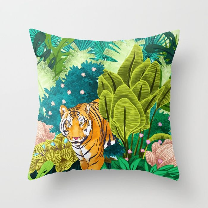 Jungle Tiger Throw Pillow 💕💕 pillows  Cute and kawaii designs on pillows  for teens, girls and kids. Find decorative pillows for bedroom, with sayings or beautiful designs. #design #decor #society6 #cute #kawaii #pillow #pillows #sboar #lovely #interior #home #bedroom #bedroomdecor #animals #pets #wild #flower #floorpillow #floor #mermai