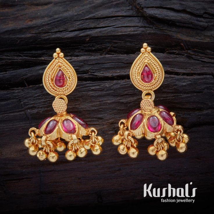Cute Simple South Indian Traditional Silver Temple Jewellery Jhumka Earrings with Hanging Beads & Studded with spinal stones.