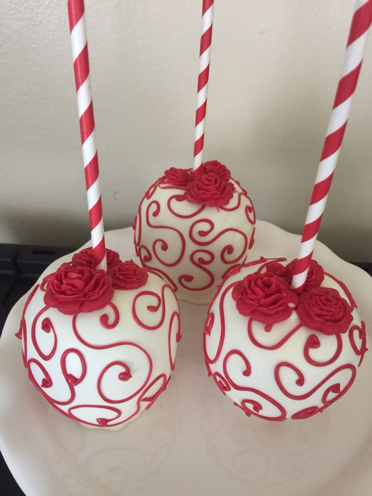 Red rose themed chocolate apple