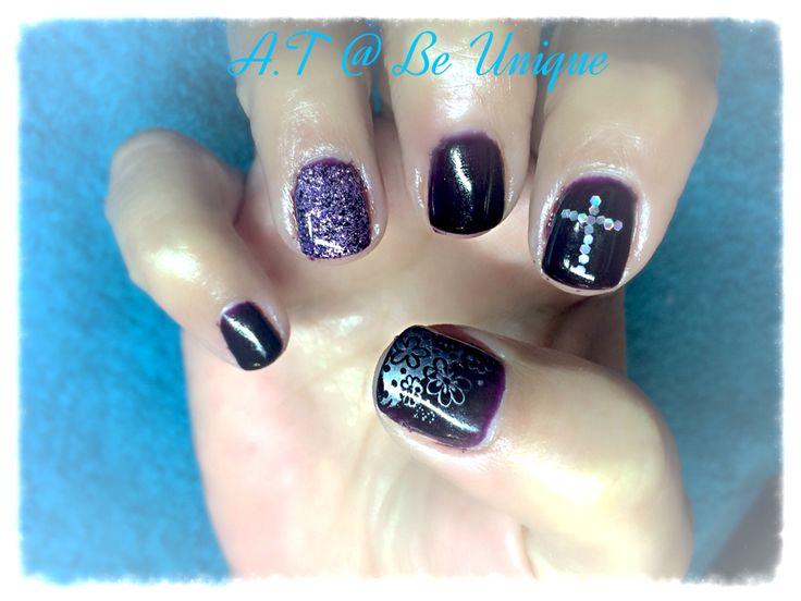Nails done by Angelique Teixeira. #dark #purple #glitter #cross #KonadStamp #flowers #newbie #BeUnique @angiedsa