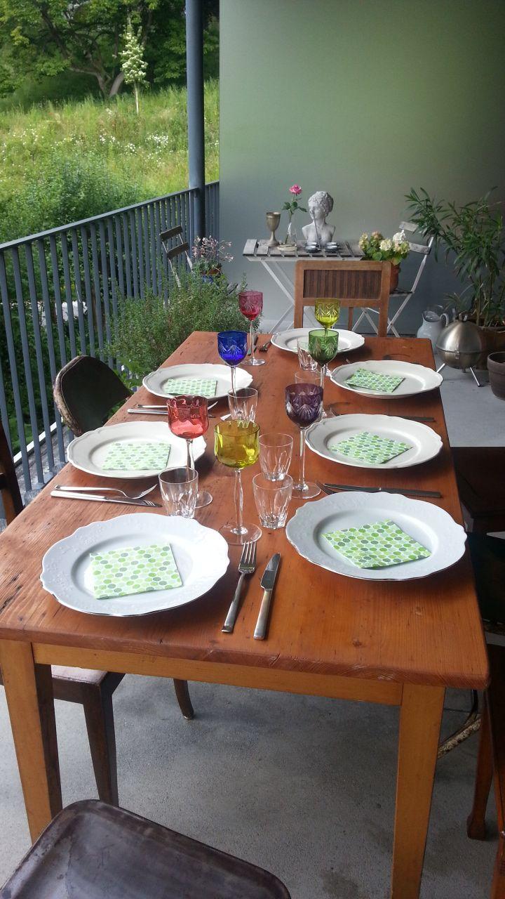 2013-06-15 Hopping Dinner Luzern - Hauptgang gabs bei Caroline auf dem grossen Balkon!  En Guete!