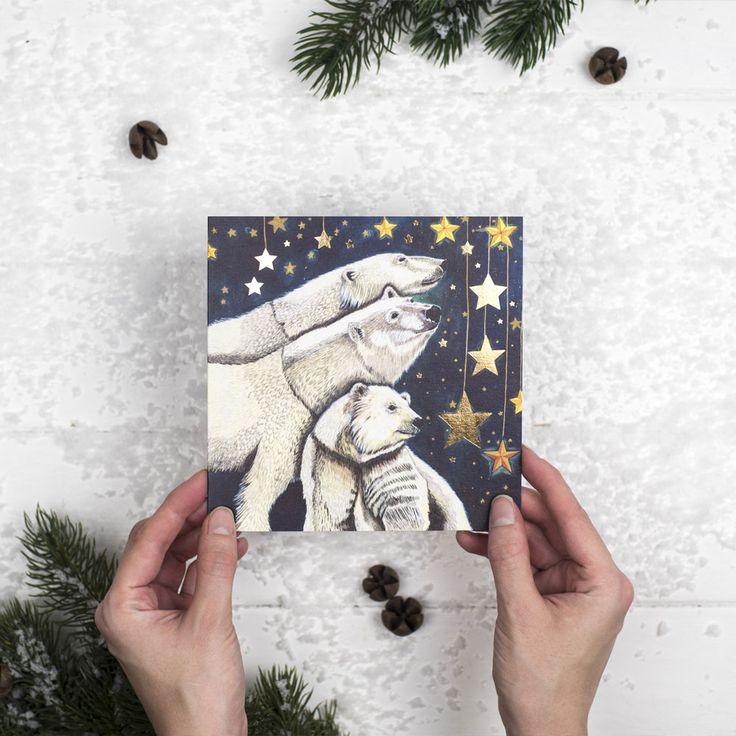 Set Of 5 'Starry Starry Night' Polar Bear Cards