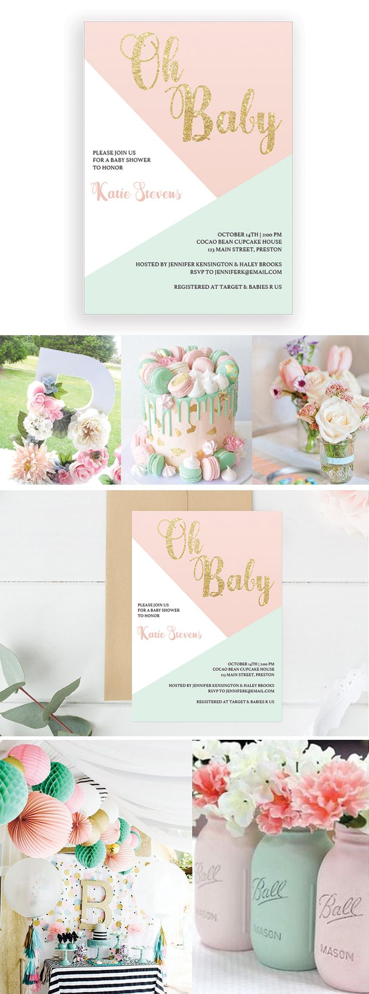 free printable camo baby shower invitations templates%0A Geometric Pastels  Baby Shower Invitation Template