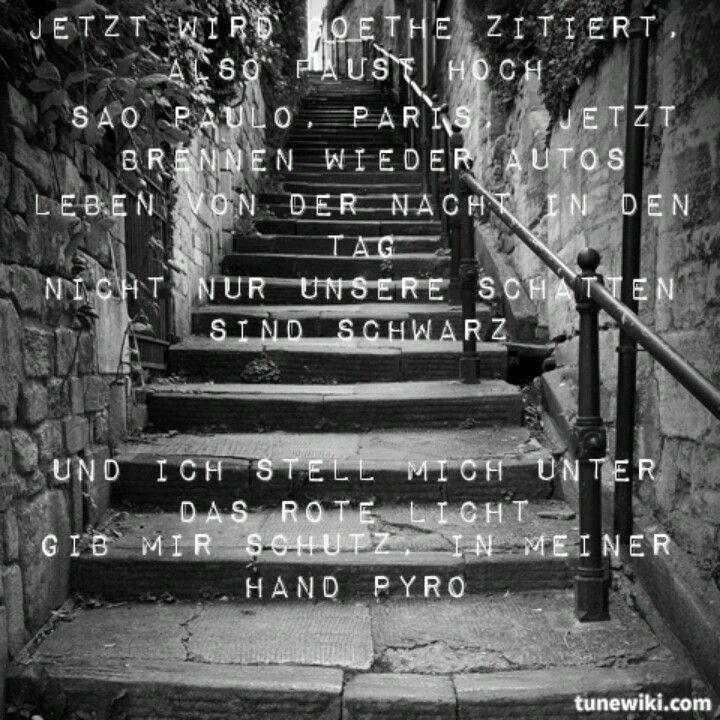 'Jetzt wird Goethe zitiert also Faust hoch. Sao Paulo, Paris, jetzt brennen wieder Autos. Leben von der Nacht in den Tag, nicht nur unsere Schatten sind schwarz.' - lyrics from 'Bengalische Tiger' by Marteria #lyricart #tunewiki