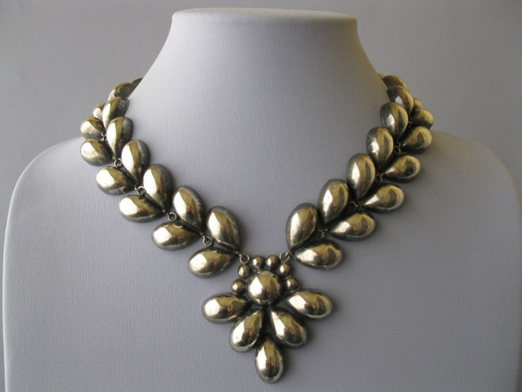 A sterling necklace that was made in Mexico during the 1940's.