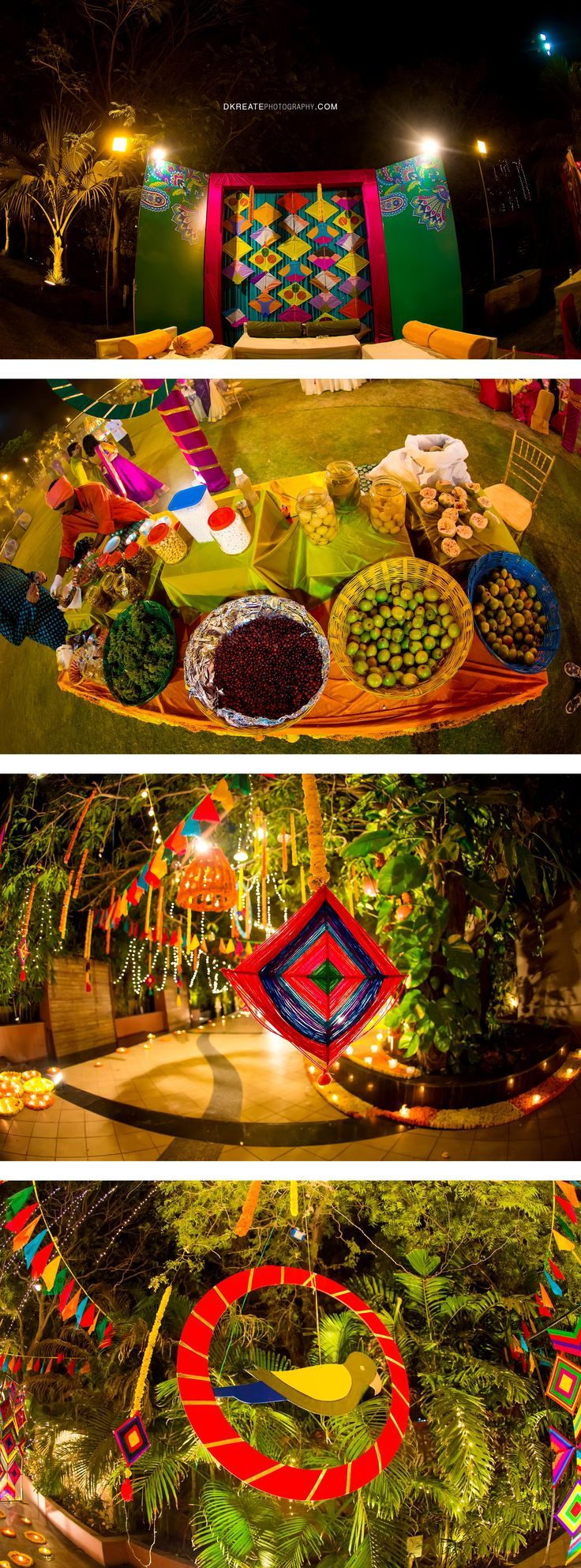 Indian wedding backdrop ideas. Colorful. Mela themed. Colorful woollen thread hanging for the wedding. Mehndi decor. Vibrant and thela for rajasthani theme. Indian street food
