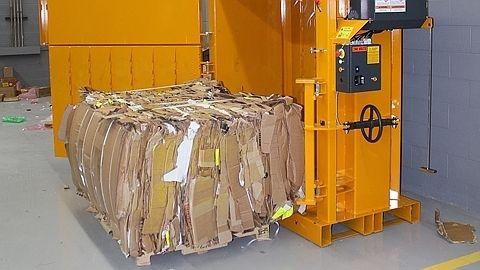 Finished cardboard bale made in Bramidan B6030 vertical baler