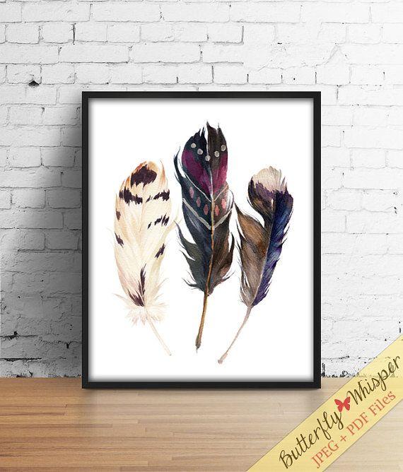 Boho printable watercolor feathers wall art von ButterflyWhisper