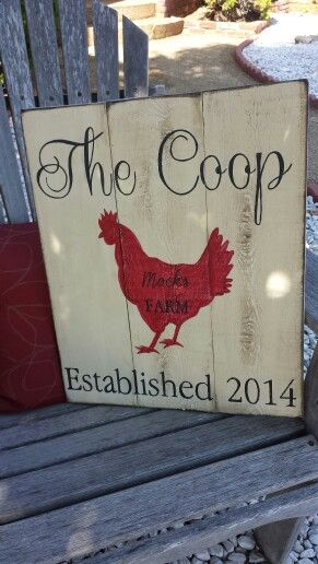 Chicken coop sign with added family name/ find me on Facebook. Www.facebook.com /DesignsbyVena- hand painted wooden signs. #designsbyvena. #handmade. #COOPSIGN. Follow me on Instagram. @vena_hallahan More