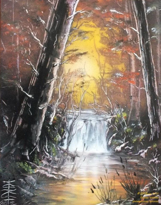 """Autumn Comfort"". Spray paint art (on 14"" x 11"" card). 2012."