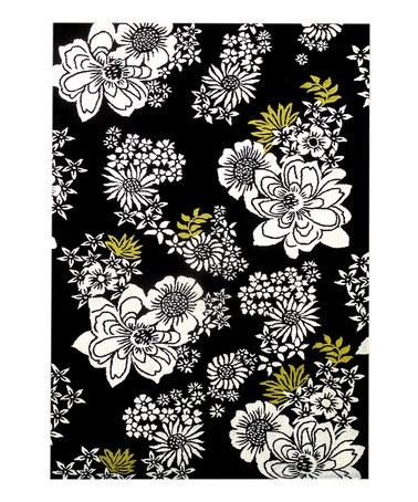 (Looks Like One Of The Vera Bradley Prints!) Black U0026 Ivory Floral Rug