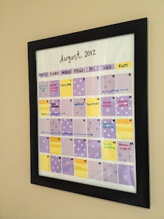 DIY Dry Erase Calendar - Used a cheap frame and scrapbooking paper (you can use paint chips too!) - for the organization nut ;)