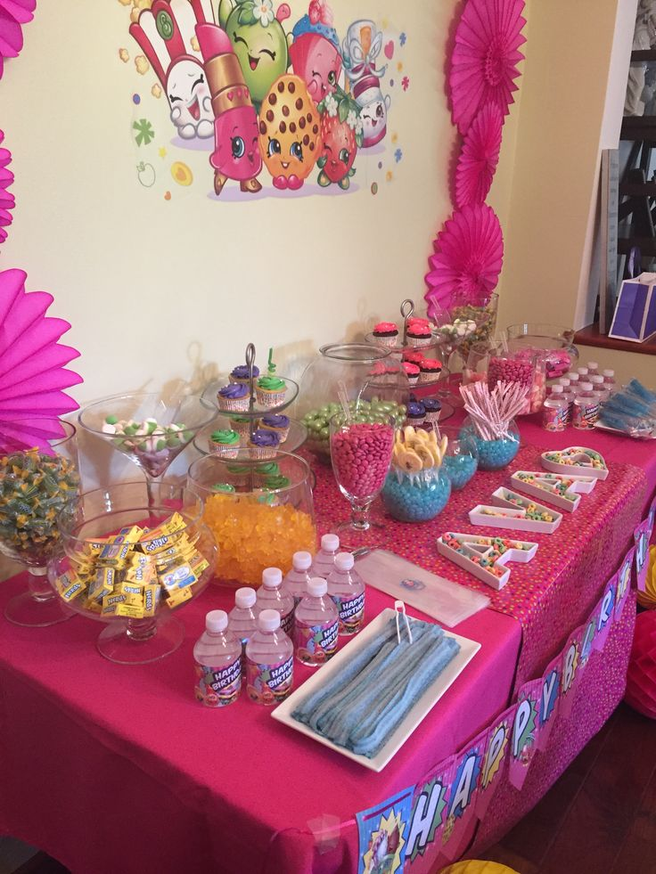shopkins birthday party candy table once upon a party pinterest party candy shopkins and candy table