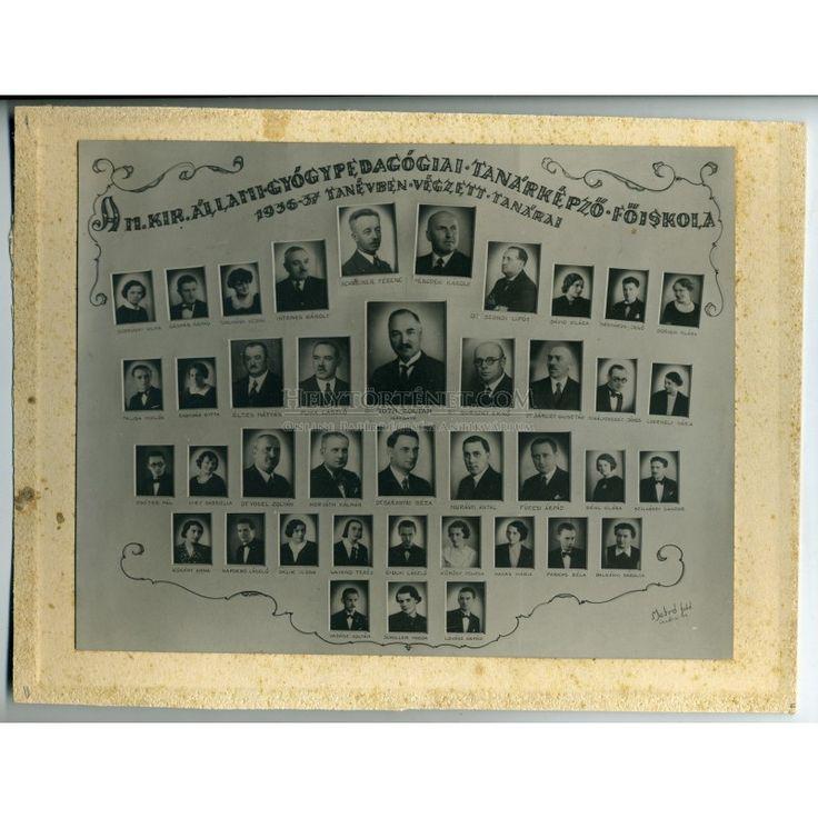 BUDAPEST 1936. A Magyar Királyi Gyógypedagógia Főiskola végzősei és tanárai, régi tabló fotó, többek között Bárczy Gusztáv és Szondi Lipót is látható a képen.