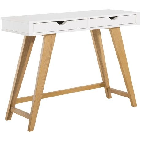 Frieda 2 Drawer Console Table  Oak/White