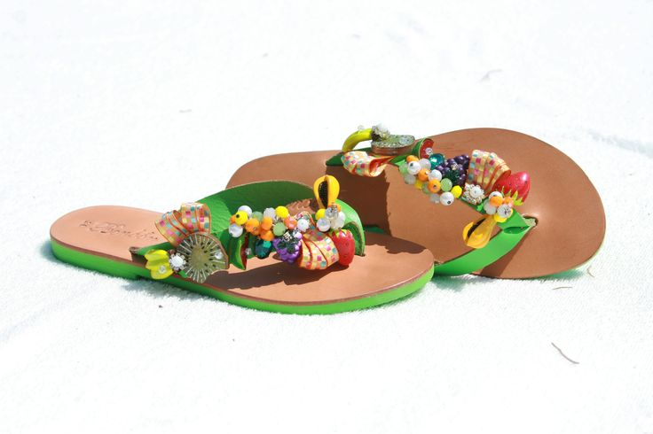 Tropicana Green Flip-flop! The tropic fruits travel you in dreaming places! BonbonSandals