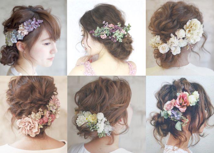 繊細なお花で飾った、〔ゆるふわシニヨン〕のブライダルヘア8選