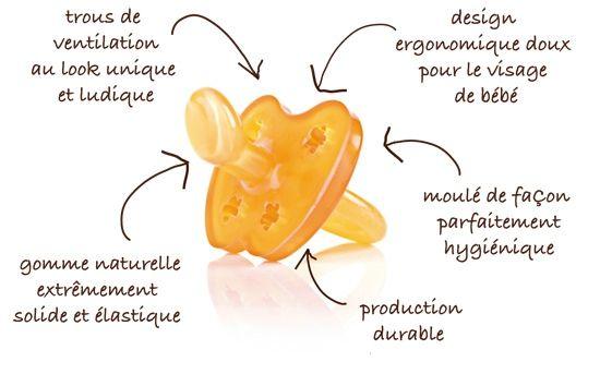 La première tétine entièrement bio fabriqué en caoutchouc 100% naturel, imaginé par une maman: elle se différencie de toutes les autres tétines par son mode de production durable.
