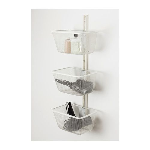 ALGOT Mesh basket with bracket  - IKEA - 4$ clips on anywhere along the uprights - 11 wide, 8 deep (might only  fit on middle one