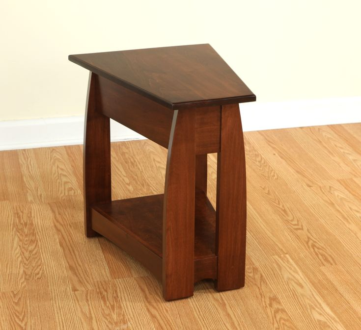 furniture quirky small narrow end table in wedge shape with shelf on creamy laminate wood