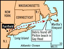 JFK Jr., his wife, Carolyn, and her sister Lauren - plane crash near Martha's Vineyard - another blow for the Kennedy family.  Location Map
