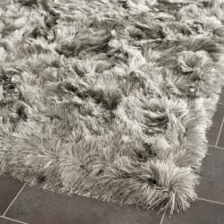 Silken Silver Shag Rug (7' Square) | Overstock.com Shopping - The Best Deals on Round/Oval/Square