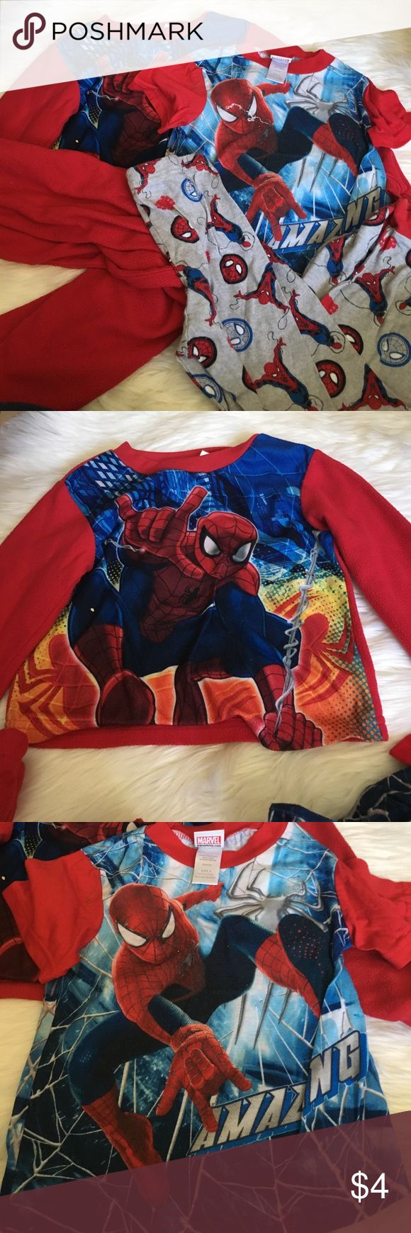 Mixed Spider-Man PJs Pilling and wear throughout. One top is 6/7. One top is 6. One bottoms is 6/7. One bottoms is 8. Good used condition. Bundles are 30% off!! Spiderman Pajamas