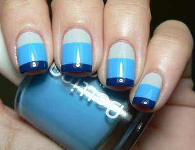 Let them have Polish!: Fun with Bettina Jeans CollectionNails Art, Triple Blue, Nails Ideas, Nails Polish, Blue Stripes, Three Tone, Stripes Nails, Beautiful Perfect, Blue Nails