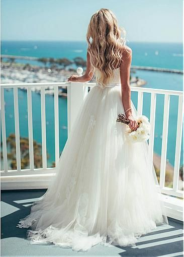 [149.99] Glamorous Tulle Spaghetti Straps Neckline A-line Wedding Dress With Lace Appliques – Dressilyme.com