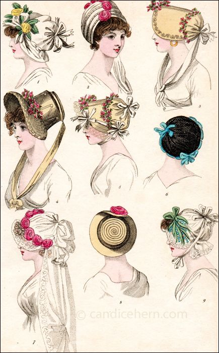"""Fashions of London and Paris, May 1800. """"London Head Dresses"""""""
