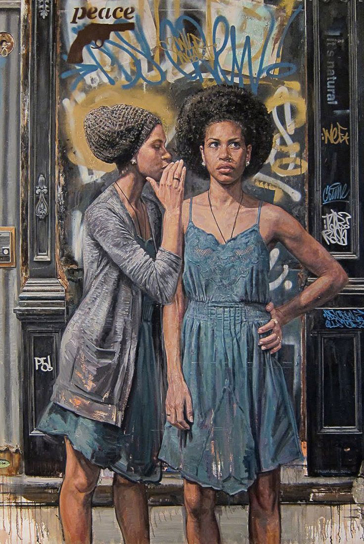 """Secret Self"" - Tim Okamura (Canadian, b. 1968), oil on canvas, 2010 {figurative art females standing African-American black women #naturalhair afro cropped painting grunge drips} Gossip !! timokamura.com"