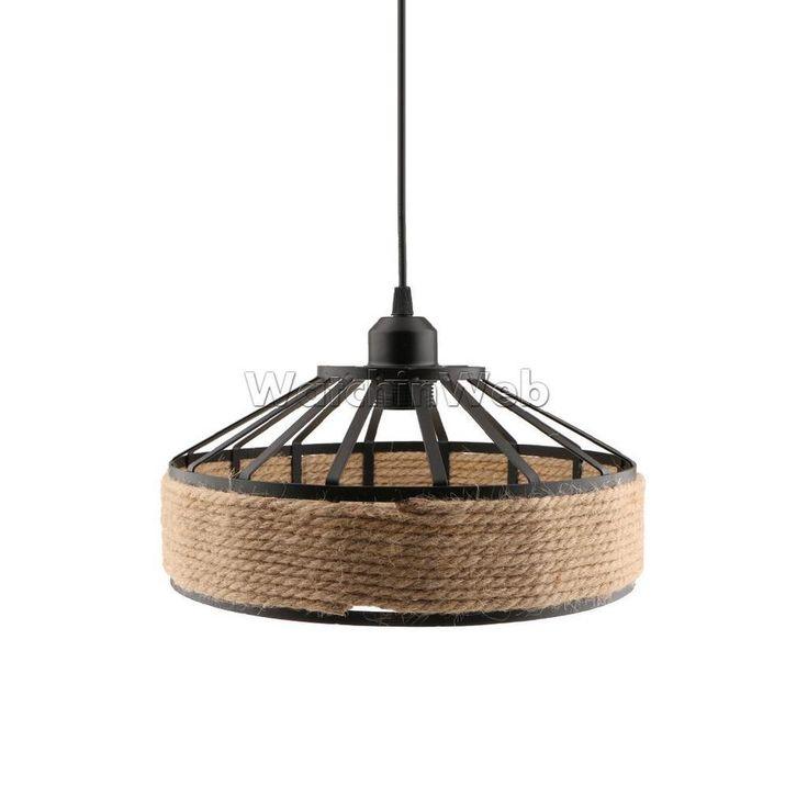 Retro Manila Rope Twined Lampshade Frame Ceiling Hanging Pendant Light Shade #Unbranded #ArtsCraftsMissionStyle