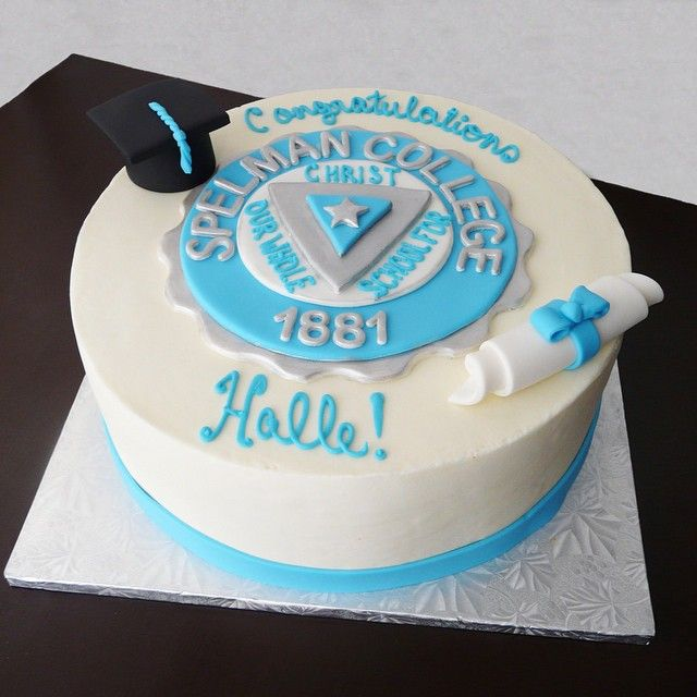 Spelman College graduation cake featuring the school's crest along with matching cap and diploma! ...