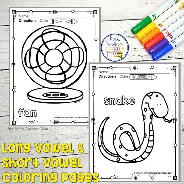 Need Something Fun For Long Vowel And Short Vowel Review At The Start Of School Fern Smith S Classroom Ideas Creative Writing Center School Coloring Pages