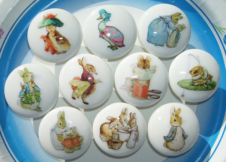 Childrens Drawer Knobs peter rabbit | 10 PETER RABBIT Ben Bunny and friends Beatrix Potter Dresser Drawer ...