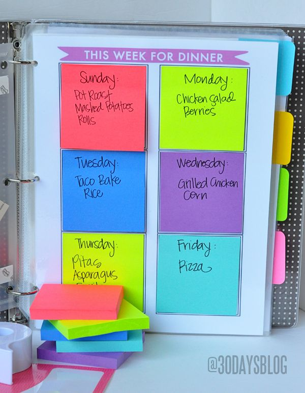 This Week for Dinner & Goals for This Week #printables using @Sandra Pendle Pendle Vanderbeck Heyrich Post Create-it® Brand  www.thirtyhandmadedays.com