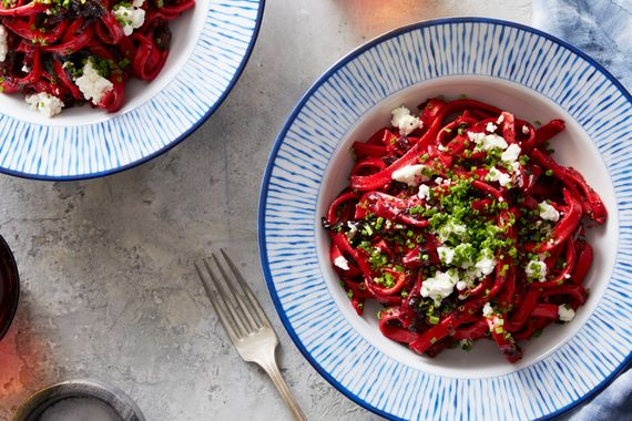 Fresh Fettuccine with Beet, Goat Cheese & Poppy Seeds. Visit https://www.blueapron.com/ to receive the ingredients.