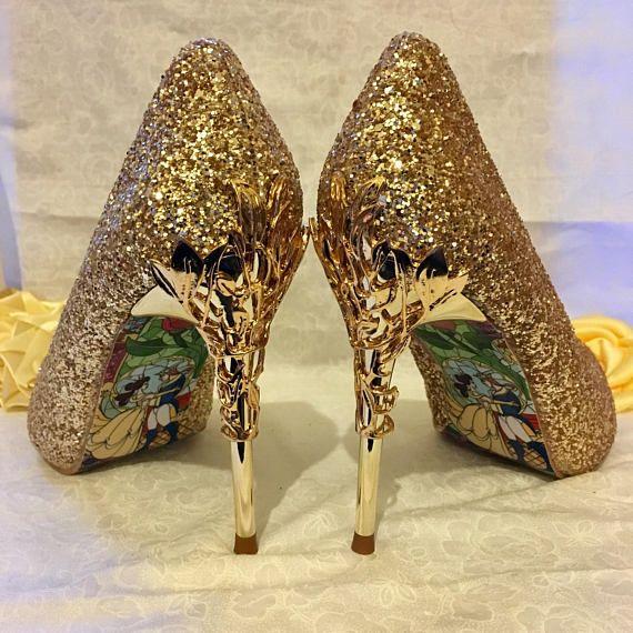 SALE Gold Glitter Wedding Shoes with Metal Leaf Detailing.